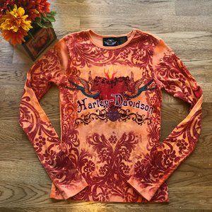 Harley Davidson Orange Beaded Top Long Sleeve